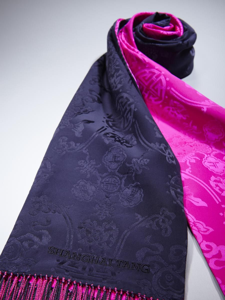 Shanghai Tang Double Fish silk scarf with tassels   Something I have ... fcbfbe010c3