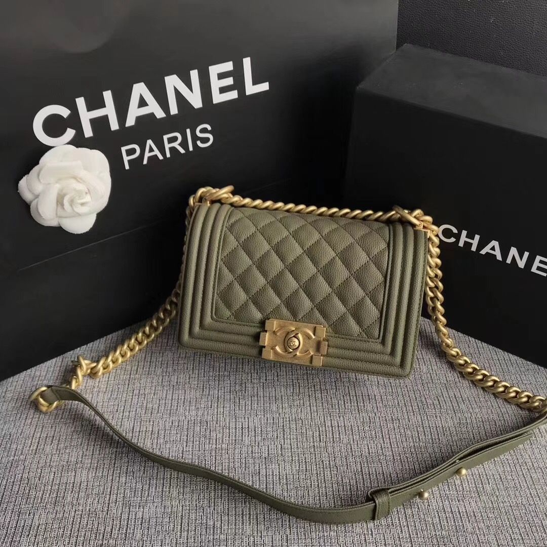 a33450a38a807a Chanel woman leboy chain flap bag Small size olive green | Bags ...
