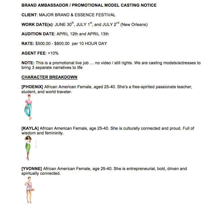800 Day Modeling Job Casting Call For The Essence Festival
