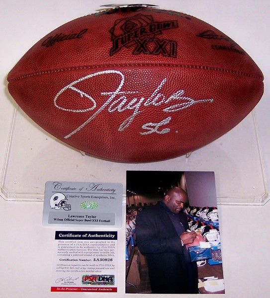 Lawrence Taylor Autographed Hand Signed Super Bowl XXI Official NFL Football - PSA/DNA