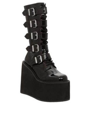 46a178805bde Demonia By Pleaser Swing Black Patent Buckle Strap Boots ~ Mmmm...much love  for huge platforms