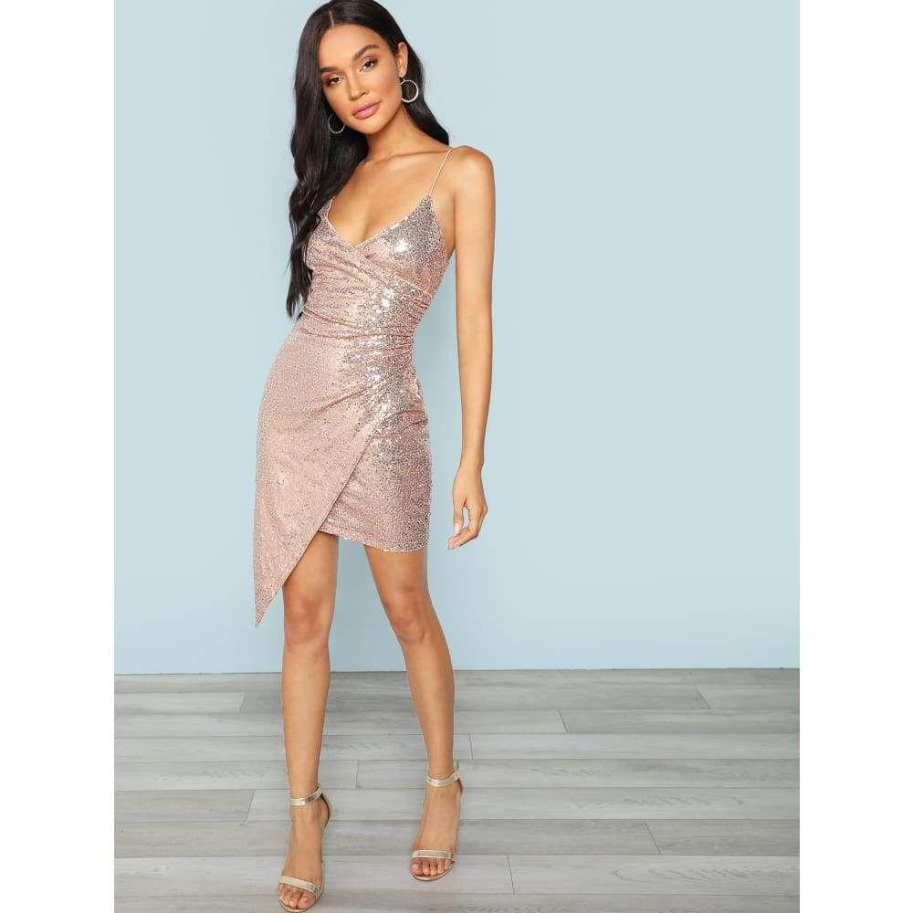 4200c57f06d Popviva - Surplice Wrap Sequin Cami Party Mini Dress  sequin  sequindress   dress  apparel  decorate  dressmurah  dresses  skirt  longdress  stylish   gamis ...
