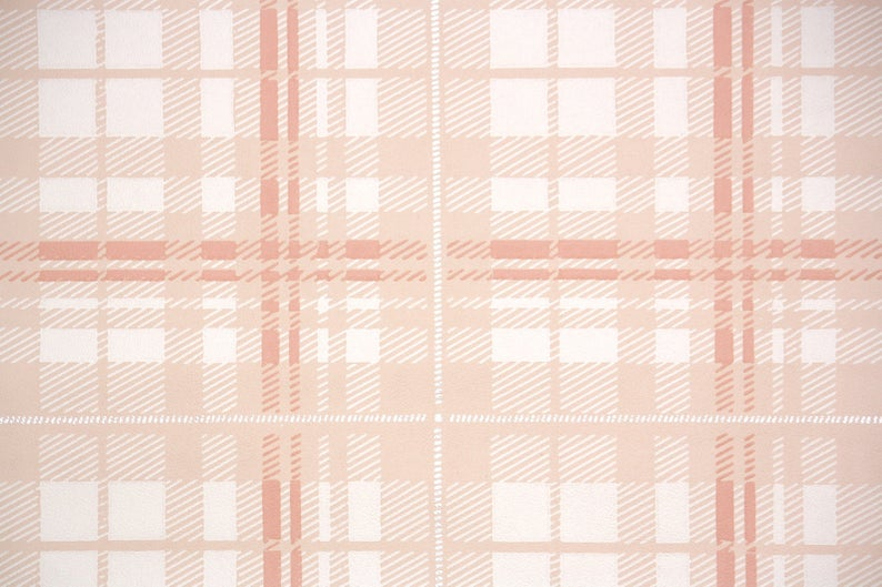 1950s Vintage Wallpaper by the Yard Plaid Wallpaper Pink