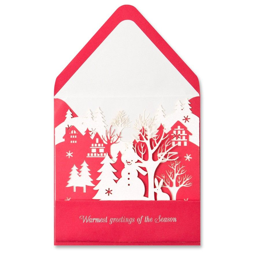 papyrus card new year card laser cutting snowman scene papyrus cards