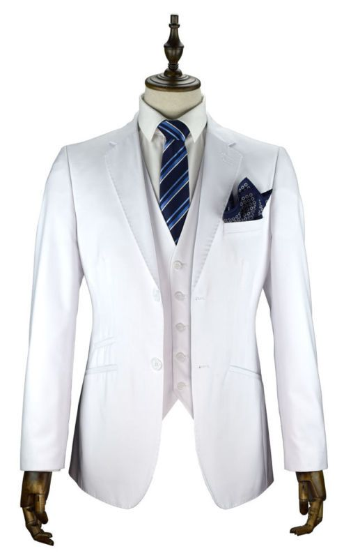 Mens white 3 piece suit wedding party prom tailored smart cruise ...