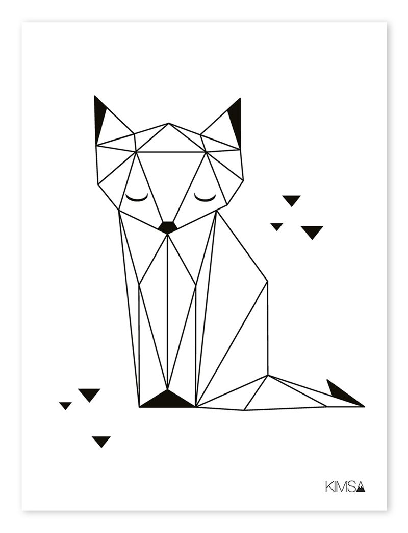 kinderzimmer poster 39 origami fuchs 39 schwarz wei 30x40cm kunstunterricht pinterest origami. Black Bedroom Furniture Sets. Home Design Ideas