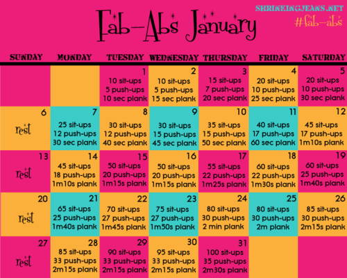 Fab Abs January A Monthly Workout Calendar From The Sisterhood Of Shrinking Jeans I Checked Out This Website And They Are Doing Weight Loss