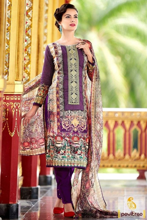 Buy online multi color chiffon cotton salwar suit. This daily wear salwar suit online shopping with cheapest price. This casual simple dress magnifies with digital print work. #salwarsuit, #casualsalwarsuit more: http://www.pavitraa.in/store/casual-salwar-suits/