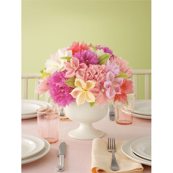These are made with tissue paper thats right tissue paper carazy these vintage girl tissue paper flowers from martha stewart will brighten the room long after your party guests leave these tissue flowers will help you mightylinksfo Choice Image