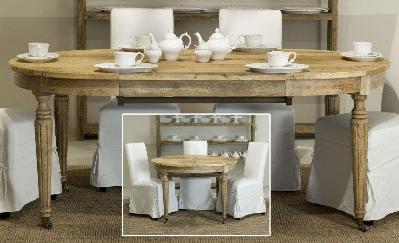 Tavolo rotondo/ovale allungabile in olmo massello antico Luxe Lodge ...