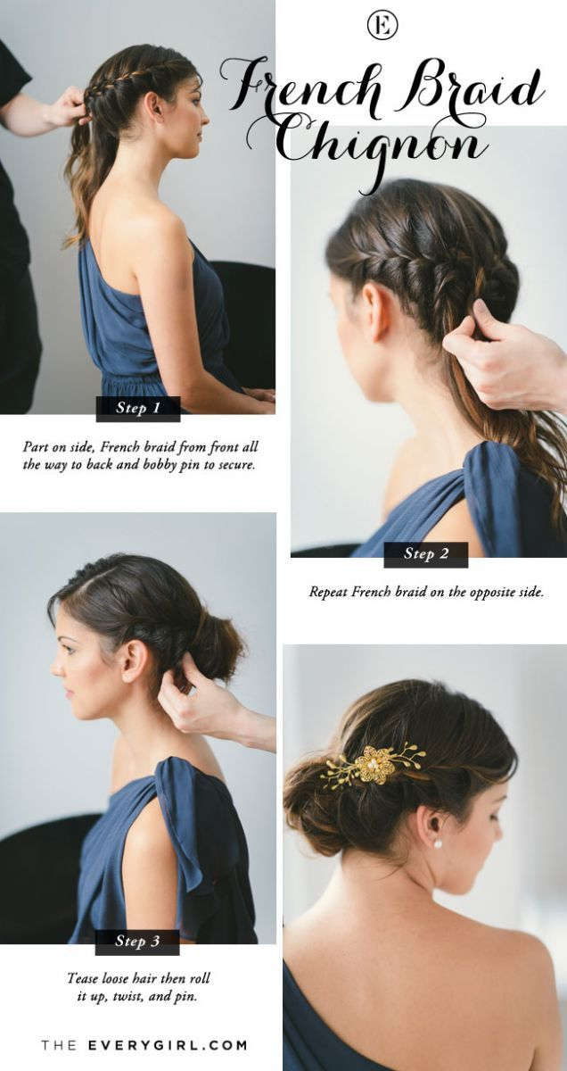 5 Quick And Easy Bridesmaid Hairstyles The Everygirl Hair Styles Braided Chignon Bridesmaid Hair Short