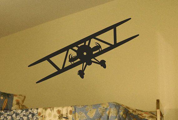 Vintage Airplane Decal / Biplane Wall Decal / Propeller Plane / Prop ...