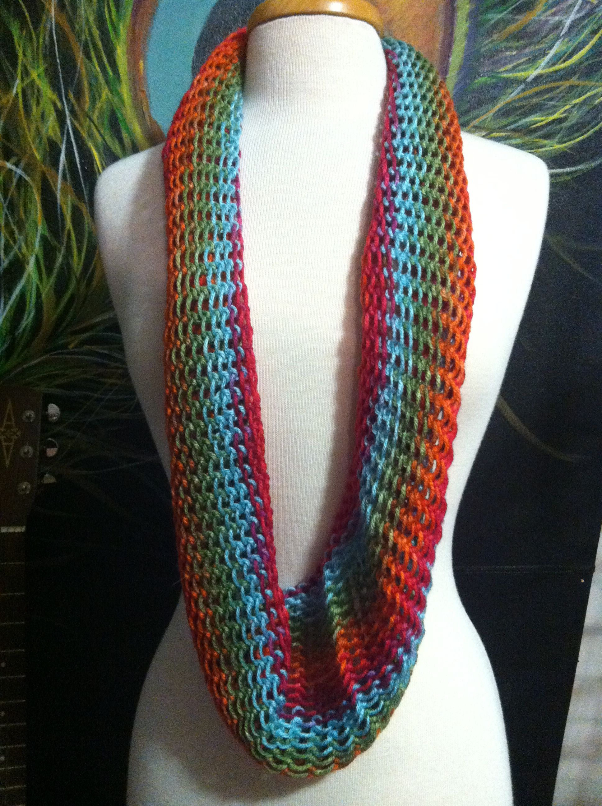 Loose knit infinity scarf made on Martha Stewart Loom in Fruit Punch ...