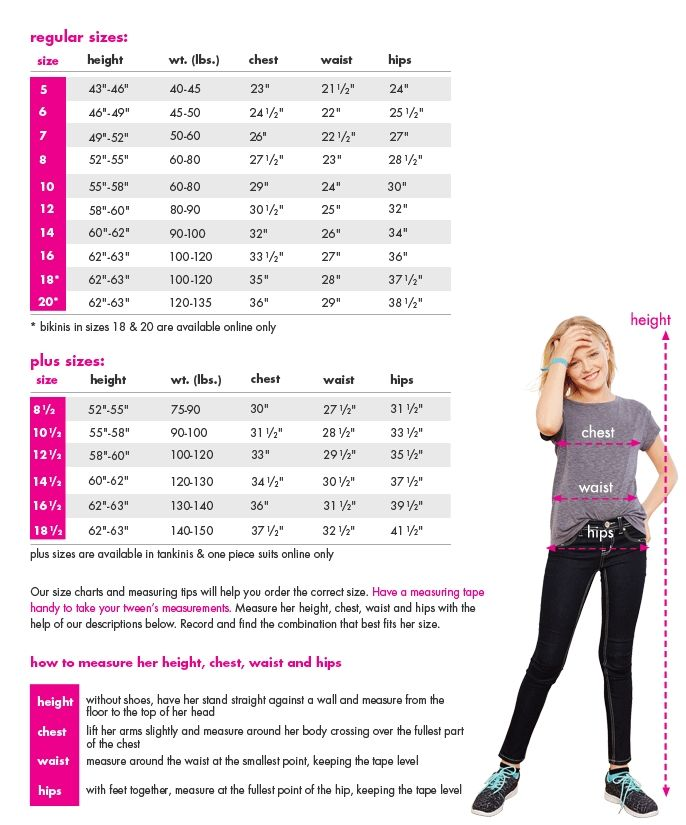 Size Chart For Swim