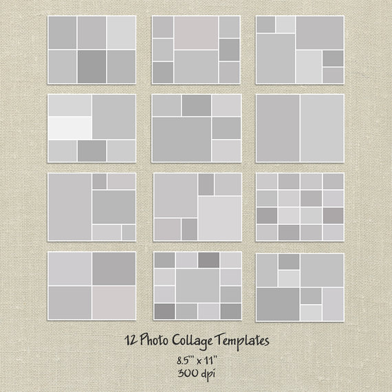 12 Storyboard Templates, 8.5X11, Photo Collage Templates, Layered