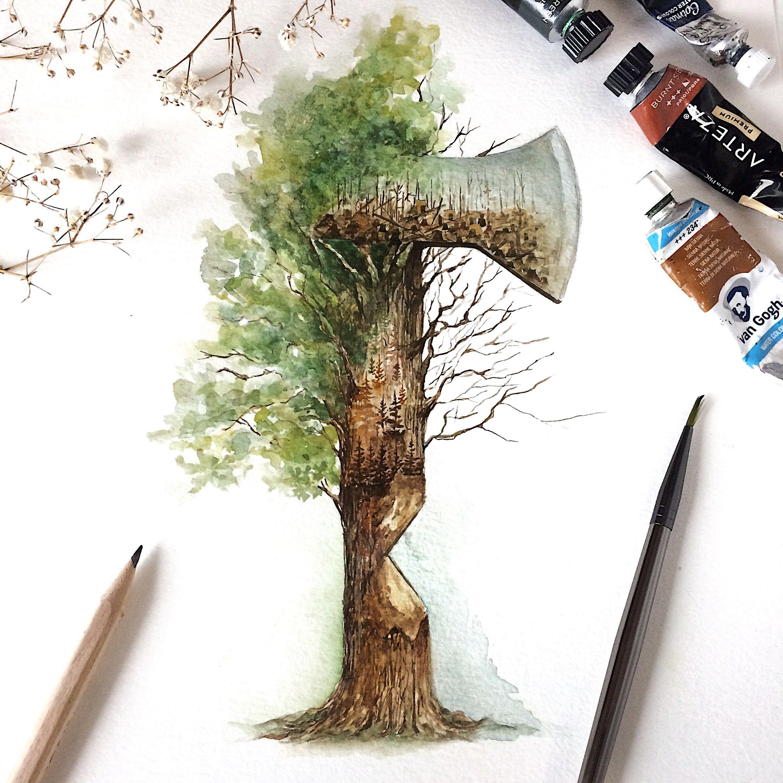 Nature Deforestation Drawing Nature Art Painting Environmental Art