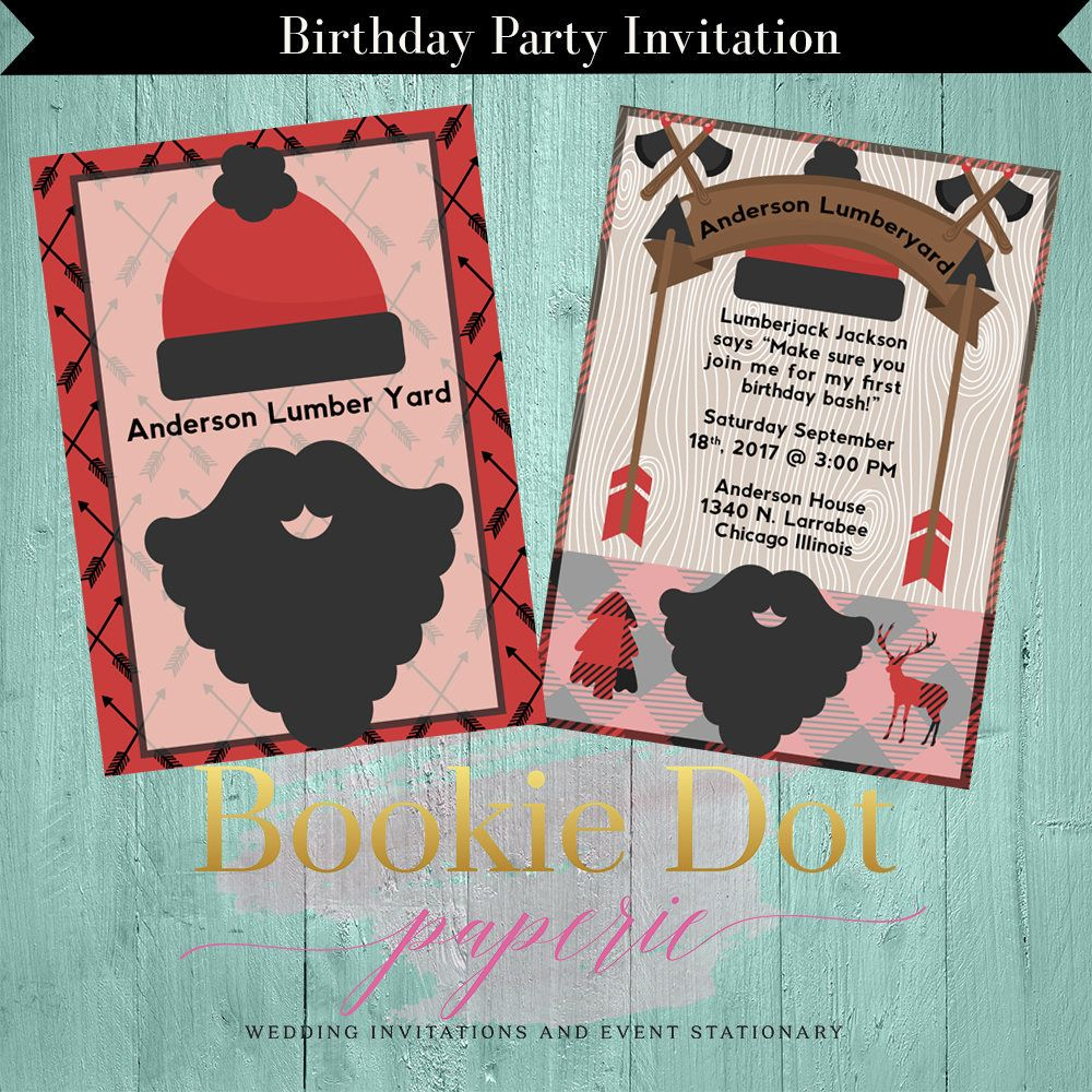 Birthday Party Invitation/Lumberjack Birthday Party Invitation/Big ...