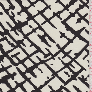 Ivory with a black abstract linear print. A lightweight twill weave rayon fabric with a very soft feel and excellent drape.Compare to $12.00/yd