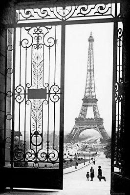 Poster Wanddekoration Plakat Grafik Eiffelturm nachts schwarz-weiß Nr 1115