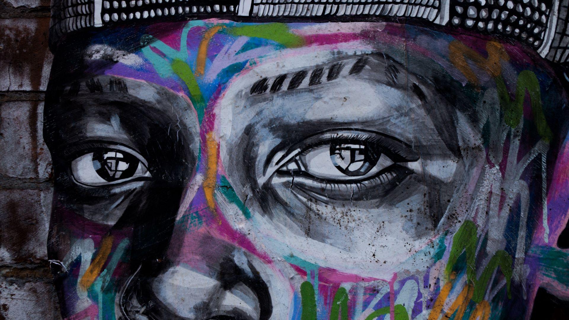 Download wallpaper 1920x1080 graffiti, eyes, art, street