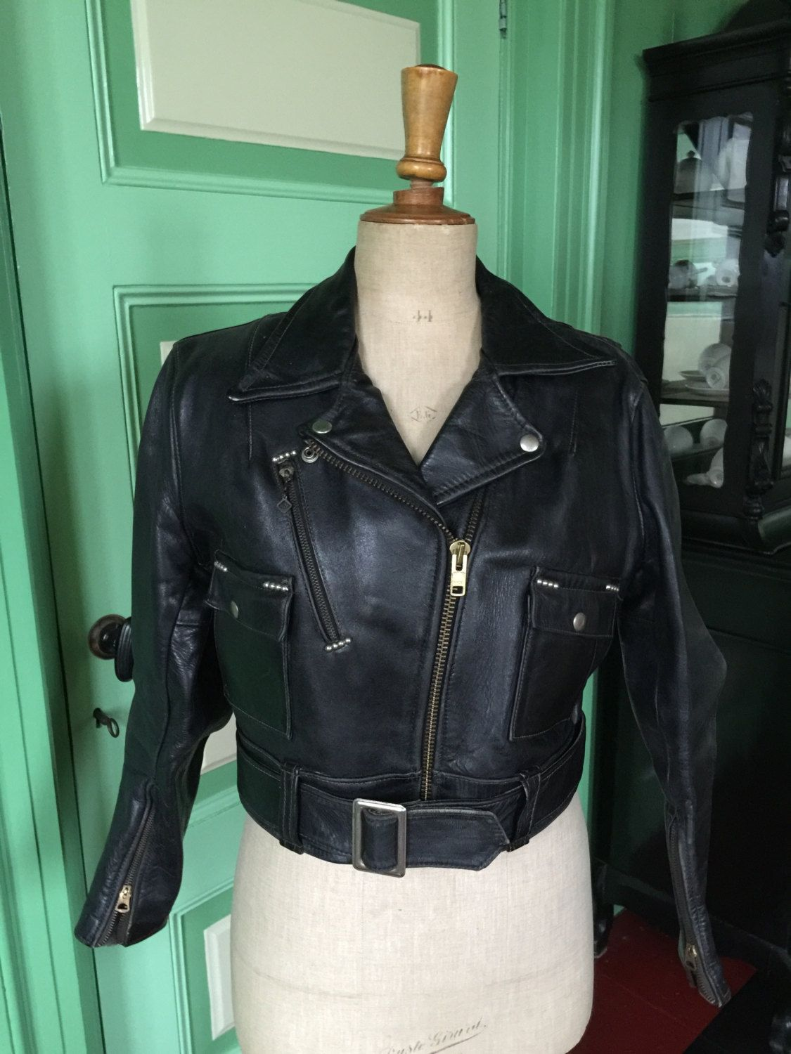1940's Harley Davidson Cycle Queen leather motorcycle jacket, horsehide,  women, rare vintage motorcycle