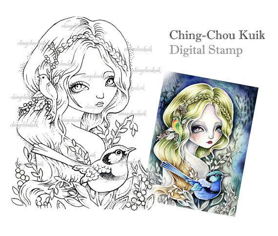 Wren di fata – Download immediato timbro digitale / arte di Ching-Chou Kuik