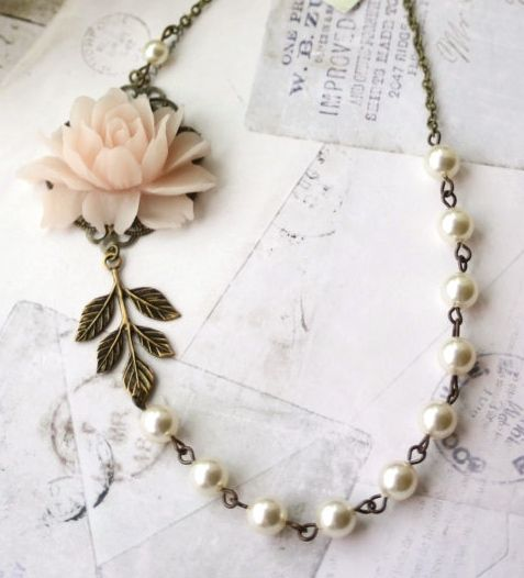 Blush Pink Rose, Ivory Pearls, Antiqued Brass Leaf Vintage Style Flower Necklace. Bridesmaid Gift, Soft Light Pink Rose, Rustic Pink Wedding by Marolsha -  https://www.etsy.com/listing/233693908/blush-pink-rose-ivory-pearls-antiqued?ref=shop_home_active_15