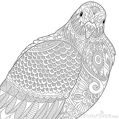 Zentangle Dove Pigeon Anti Stress Coloring Book Mandala Coloring Books Coloring Books