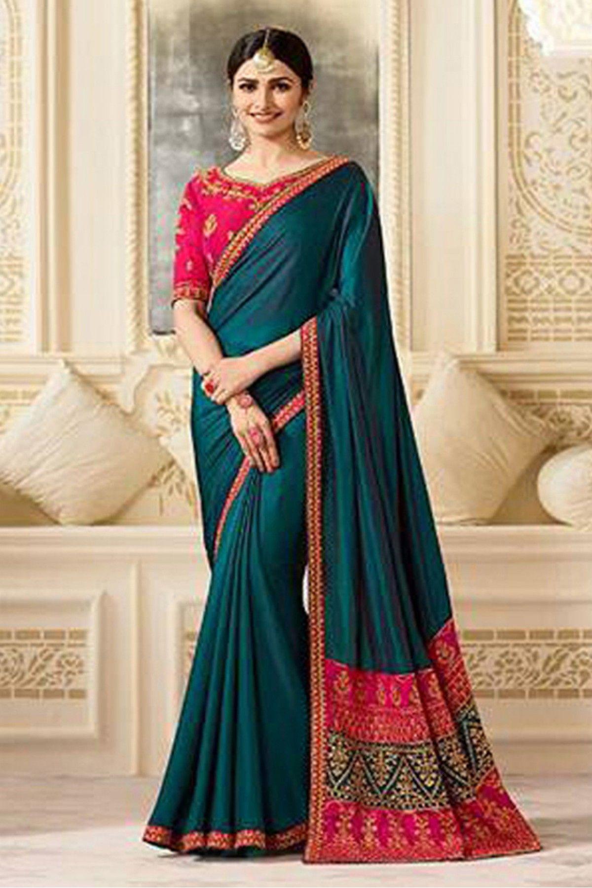 21c5a8cedd2012 Prachi Desai Sana Silk Designer Saree In Teal Blue and Pink Colour ...