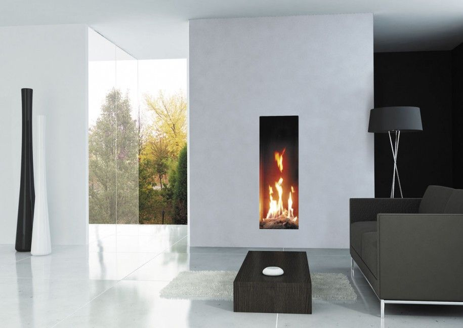 Fireplace Design modern fireplace inserts : Combination Modern Interior Room Decor with Contemporary Fireplace ...