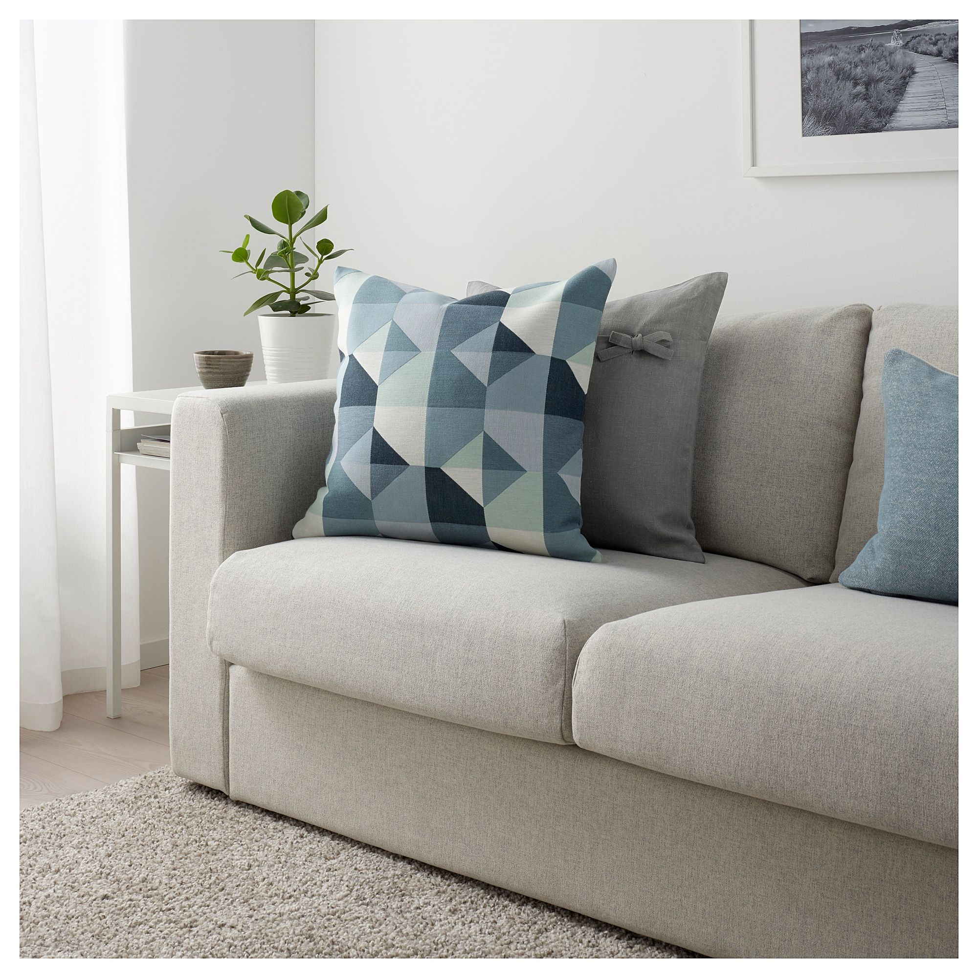 IKEA SVARTHÖ Cushion cover green/blue in 2019 Living
