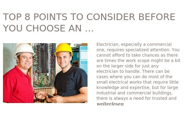 Top 8 Points To Consider Before You Choose An Efficient Commercial Electrician