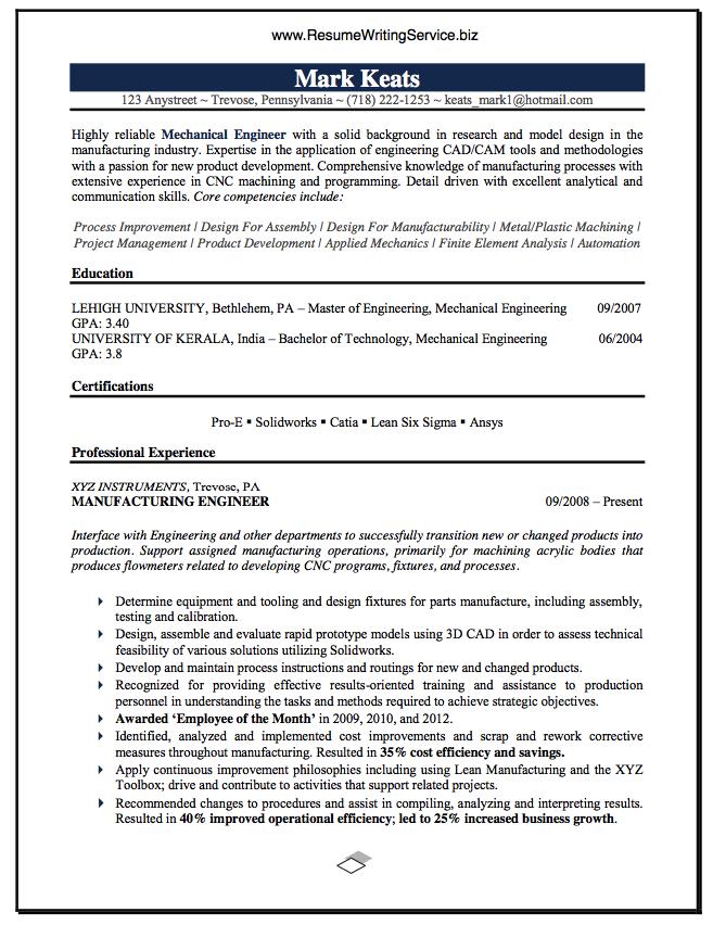 Mechanical Engineer Resume Sample Engineering Resume Engineering Resume Templates Mechanical Engineer Resume