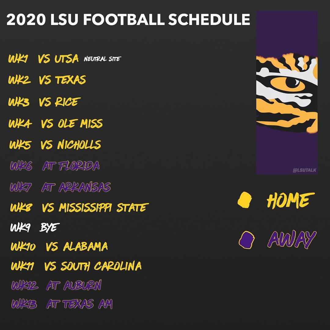 Lsu Talk On Instagram What Will Lsu S Record Be In The 2020 21 Football Season Assuming There Is A Season Rice Is N In 2020 Lsu Lsu Football Schedule Lsu Alabama