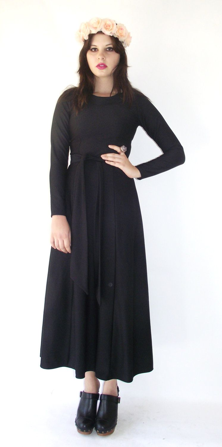 Vintage s long sleeve black belted maxi dress via etsy