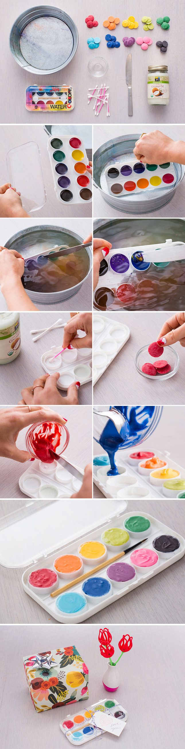 DIY your own box of chocolate for Valentine's Day using a paint palette.