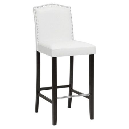 Rubberwood Barstool With Nailhead Trimmed Faux Leather Upholstery