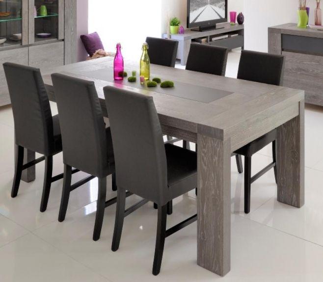 Brunswick Contemporary Extending Dining Table In Grey Oak Veneer