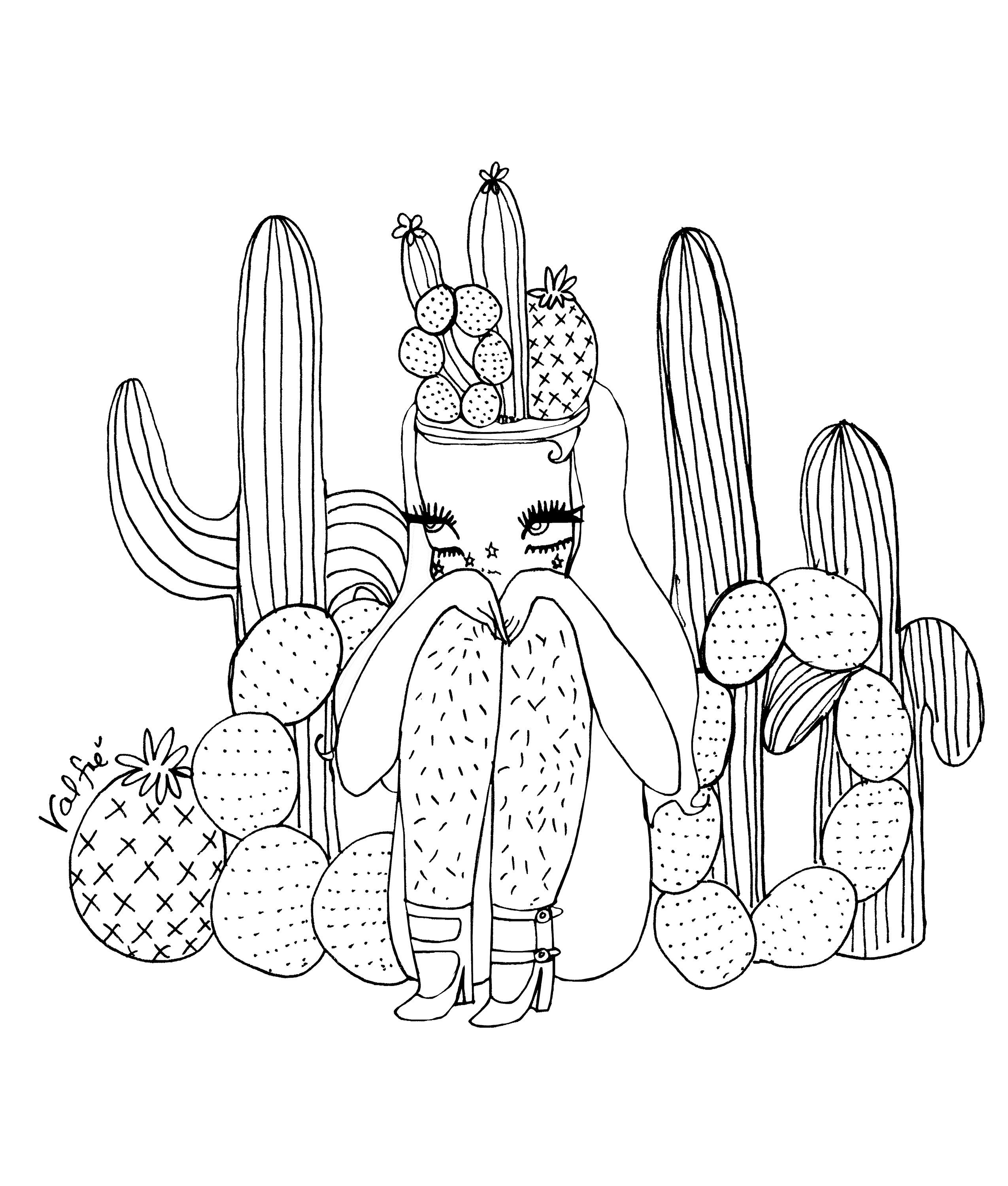 Cacti Babe Valfre Coloring Page With Images Coloring Pages