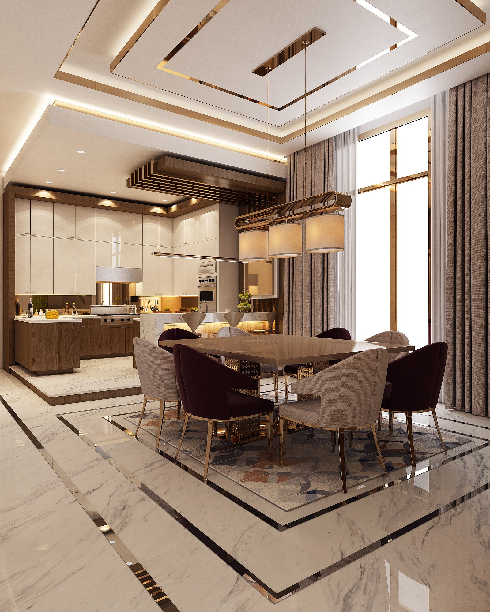 Luxury Modern Villa Qatar On Behance Luxury Dining Room
