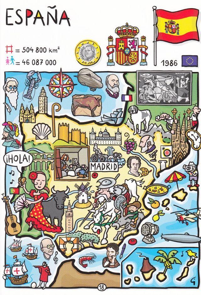 C65dc69857aa4c1e1be69be4d06b50c9 Jpg 640 940 Pixels Espagne Carte Espagne Espagnol