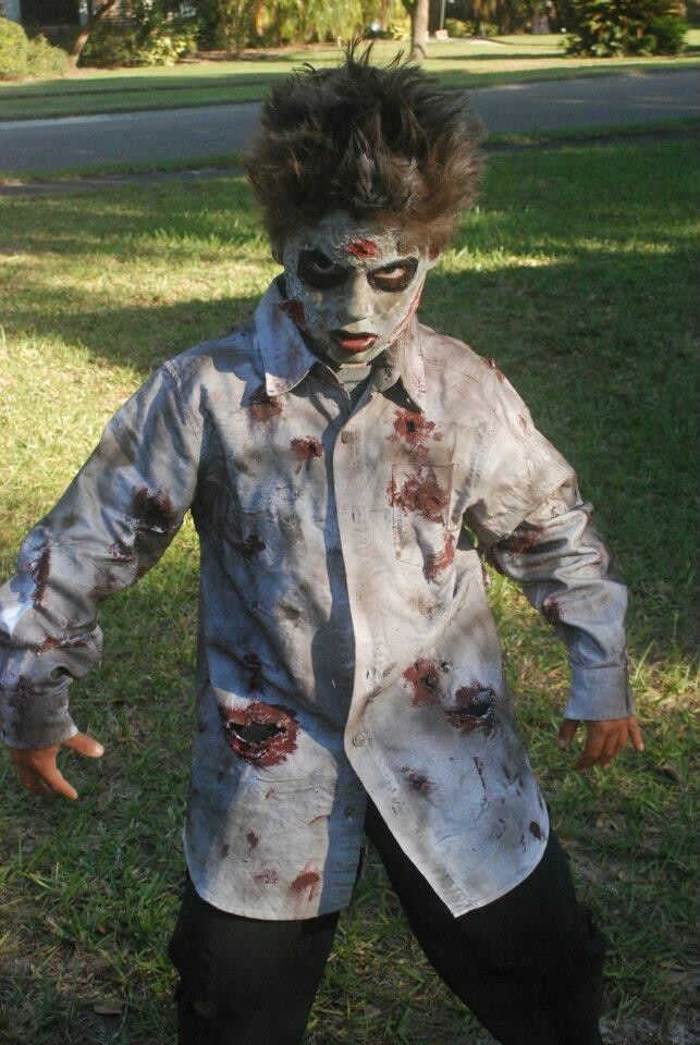 Diy zombie costume. ,( wanted him to be a minion. Oh well.