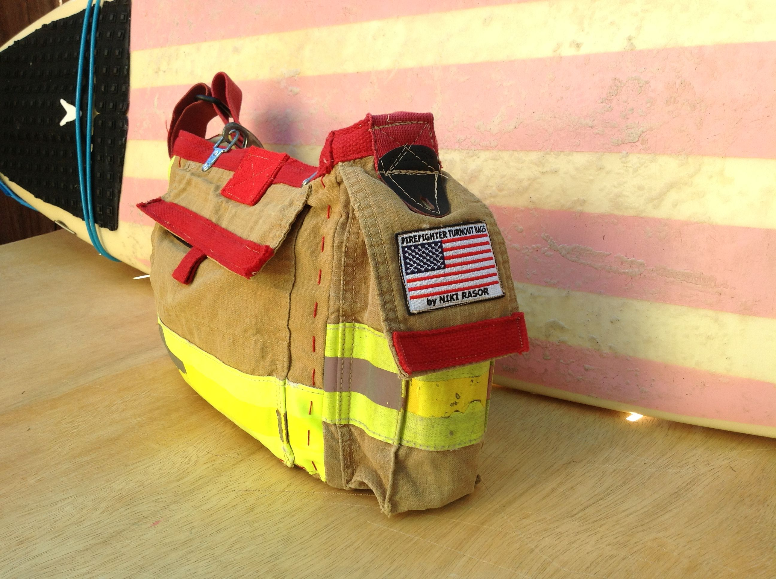 Recycled bunker gear bags - Leather Bottom Firefighter Turnout Bag Made From Recycled Firefighter