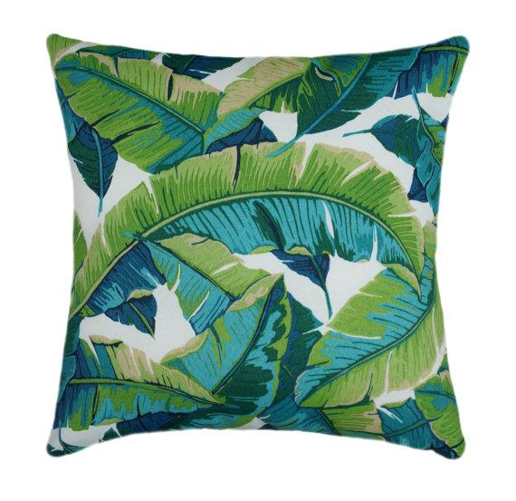 Richloom Balmoral Opal Outdoor Throw Pillow By Landofpillowsdotcom Green Outdoor Pillows Tropical Pillows Outdoor Pillows