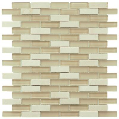 Merola Tile Tessera Subway Sandstone 10 3 4 In X 11 3 4 In X 8 Mm Glass And Stone Mosaic Tile Gitmsst Stone Mosaic Stone Mosaic Tile Mosaic Wall Tiles