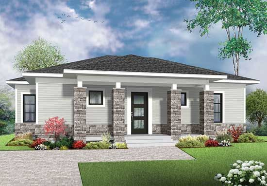 W3138 - Economical Contemporary Modern House Plan with open floor - Modeles De Maisons Modernes