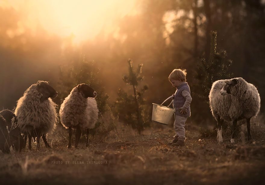 Russian Mother Continues To Take Magical Photos Of Her Two Kids - Mother takes amazing pictures ever children animals farm
