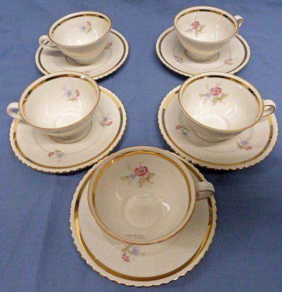 Vintage Bavarian porcelain demitasse Tea set Seltmann Weiden Tea Cups with Saucers and Tea Pot. Elisabeth pattern #teapotset