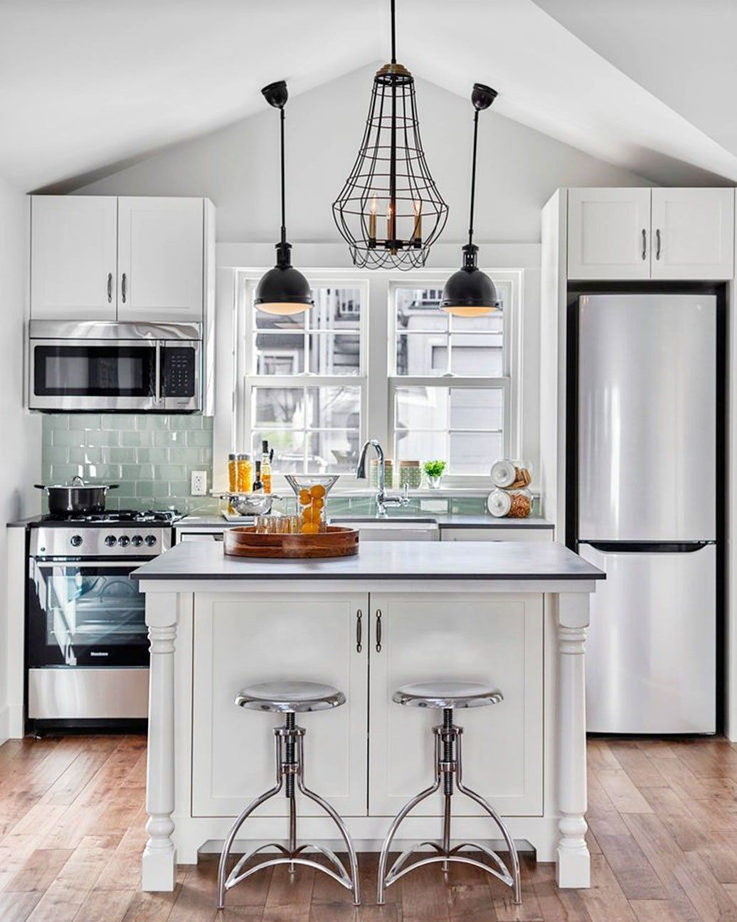 5 Smart Ways To Fit A Kitchen Island In A Small Space Small Kitchen Layouts Kitchen Design Small Kitchen Remodel Small