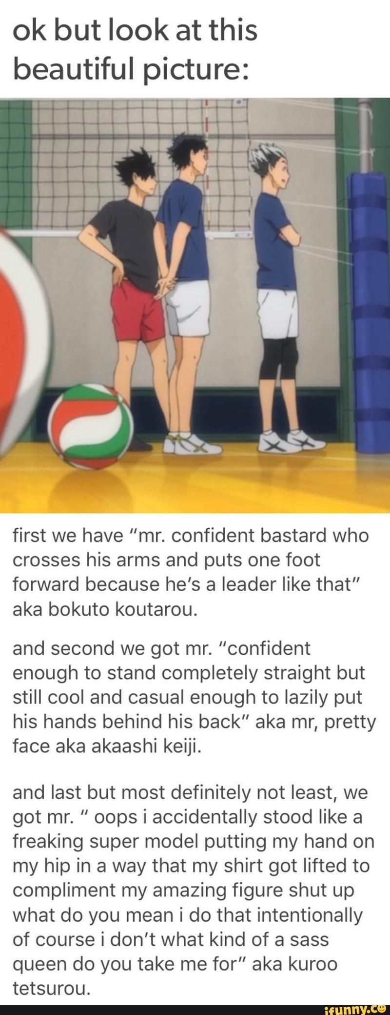 Actually I D Say That Akaashi S Body Language Is Definitely Closed Off And Maybe Even A Little Insecure The Way He Is Hold Haikyuu Haikyuu Funny Haikyuu Anime